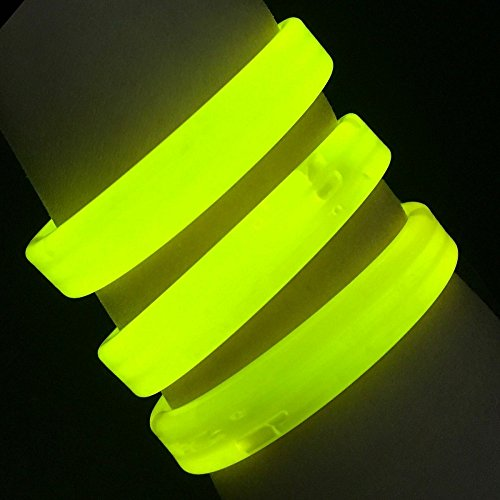 """(Glow Sticks Bulk Wholesale Wristbands, 25 9"""" Yellow Triple-Wide Glow Bracelets, Bright Color, Glow 8-12 Hrs, 25 Connectors Included, Glow Party Favors Supplies, Sturdy Packaging, GlowWithUs)"""