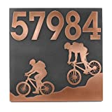 Mountain Bike Address Plaque 16x16 - Raised Copper Metal Coated Sign