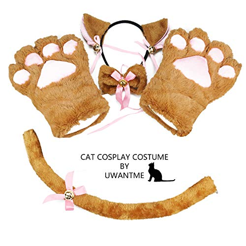 Cat Cosplay Costume Kitten Tail Ears Collar Paws Gloves Anime Lolita Gothic Set Brown -