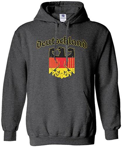 - Threadrock Deutschland Eagle Emblem Unisex Hoodie Sweatshirt M Dark Heather