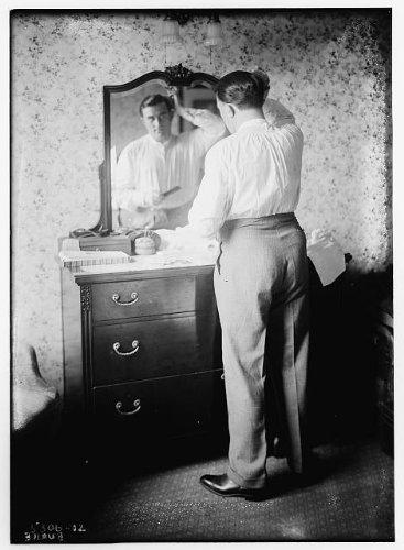 HistoricalFindings Photo: Burke,men,mirrors,hair,grooming,vanities,dressers,portraits,Bain Service (Mirror Dresser Portrait)