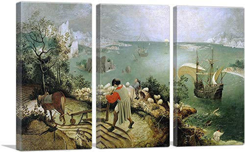 ARTCANVAS Landscape with The Fall of Icarus 1555 Canvas Art Print by Pieter Bruegel The Elder – 60 x 40 0.75 Deep 3-Piece