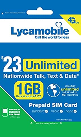 Lycamobile $23 Plan 1st Month Included SIM Card is Triple Cut Unlimited Natl Talk & Text to US and 60+ Countries 1GB Of 4G (Unlock Phone With Any Micro Sim)