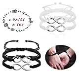 Hanpabum 4Pcs 8 Infinity Braided Bracelets for Couples Matching Handcrafted Leather Luck Bracelet for Women Men Adjustable Chain