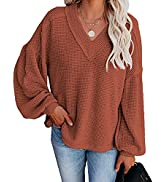 Cisisily Pullover Blouses for Women Casual Long Sleeves V Neck Sweatshirts Tops