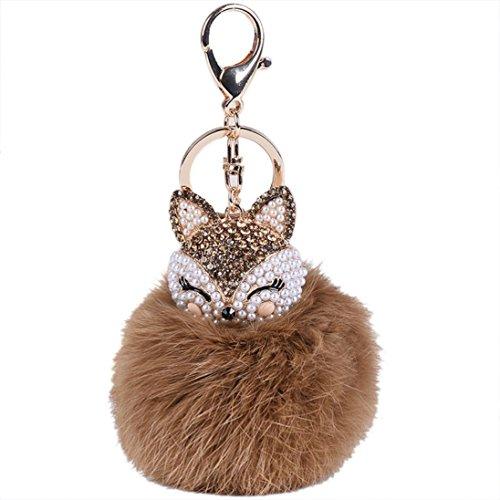 Lavany Key Chain Faux Fur Ball with Artificial Fox Head Inlay Pearl Rhinestone Keychain Bag Plush Car Key Ring Charm Pendant Gift (Brown) ()