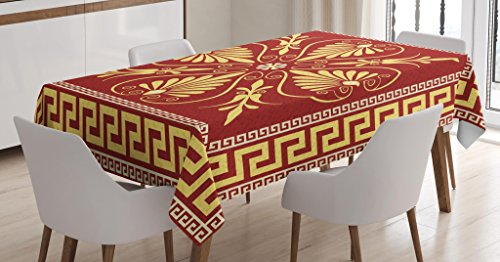 Ambesonne Greek Key Tablecloth, Old Fashioned Frame Design with The Greek Labyrinth and Curly Leaves Flowers, Dining Room Kitchen Rectangular Table Cover, 52