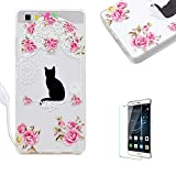 Huawei P8 Lite Case [with Free Screen Protector],Funyye Slim [Fashion Painted Pattern] Design Crystal Soft TPU Silicone Shockproof Protective Bumperfor Huawei P8 Lite-Flower cat