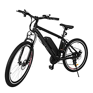 Zaplue Electric Bike, 26'' Electric Mountain Bicycle 250W Ebike for Adults Removable 36V 8Ah Lithium Battery, Shimano 21 Speed