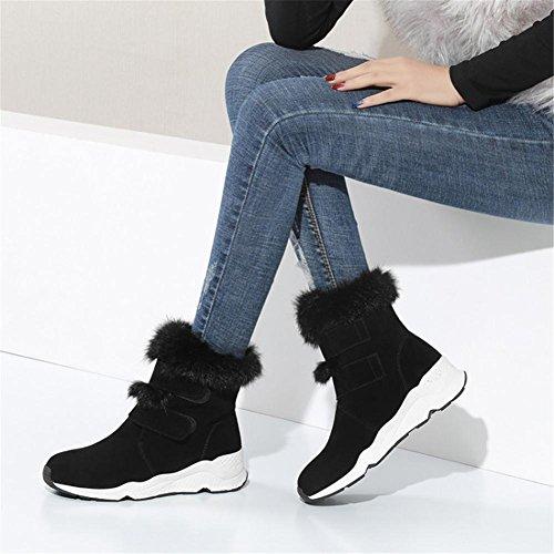Hiver Chaussures Cheville Bottes Party Bas Coton Femmes Chaud Plat NVXIE Épaisse Fall Noir EUR35UK3 BLACK Neige Suede xEYqOwxS