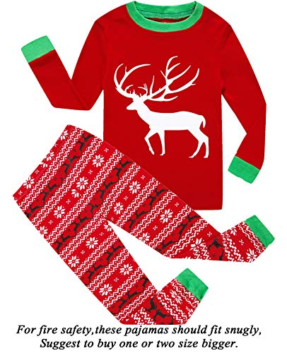 (Boys and Girls Christmas Pajamas 100% Cotton Toddler Pjs Long Sleeve Kid Sleepwear Sets)