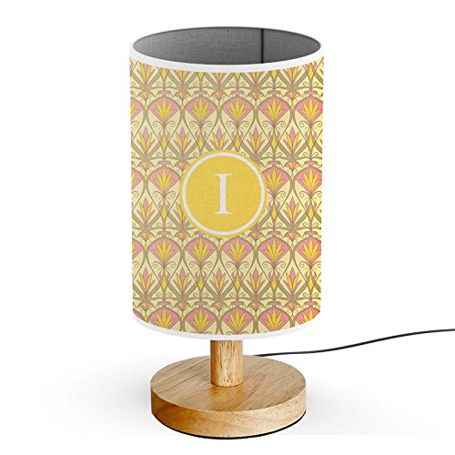 [ INITIAL LETTER I ] Monogram Name USB POWERED Wood Base Desk Table Bedside Lamp [ Vintage Floral Shapes Art Nouveau ] - Nouveau Silver Letters