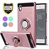 Sony Xperia XA1 Case with HD Phone Screen Protector,Ymhxcy 360 Degree Rotating Ring & Bracket Dual Layer Shock Bumper Cover for Sony Xperia XA1 5'(2017)-ZH Rose Gold