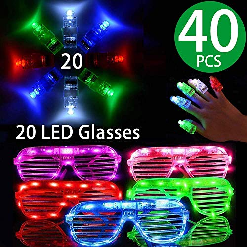 LED Glasses Package,20 Pack Light Up Glasses 6 Color LED Plastic Sunglasses Shutter Shades and 20 pcs 4 Color LED Finger Lights for Kid and Adults Glow in the Dark New Year Party Supplies Party Favors
