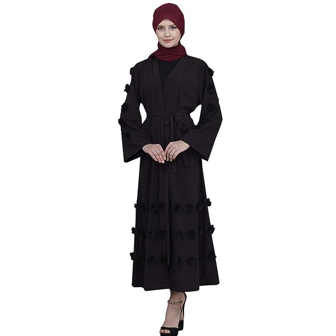 b8299b1c34fd7 Amazon.com  Muslim Dress Dubai Kaftan Women Long Sleeve Long Cardigan Dress  Abaya Islamic Clothing Arabic Caftan Jalabiya Kaftan  Clothing