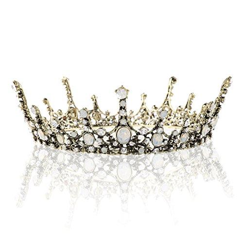 Barogirl Queen Crown Wedding Bridal Full Tiaras Vintage Opal Rhinestones Headband for Women