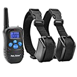Petrainer PET998DRB2 Rechargeable and Rainproof Training Collar with Beep, Vibration and Electric Stimulation for Two Dogs 330 yd