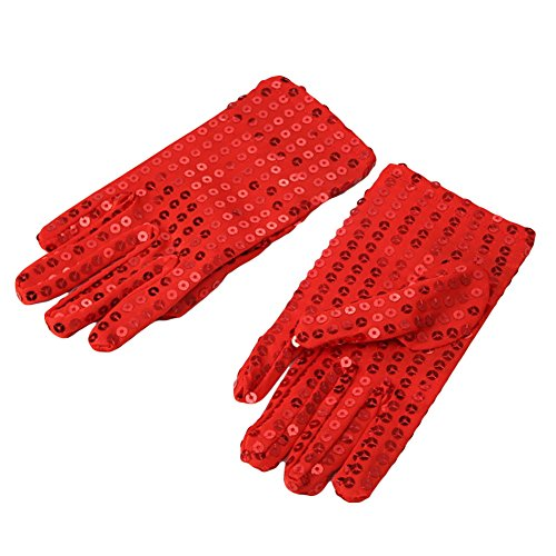 Ztl Child Sparkling Sequin Gloves Michael Jackson Costume Gloves For Party Dance, Red, ONE SIZE -