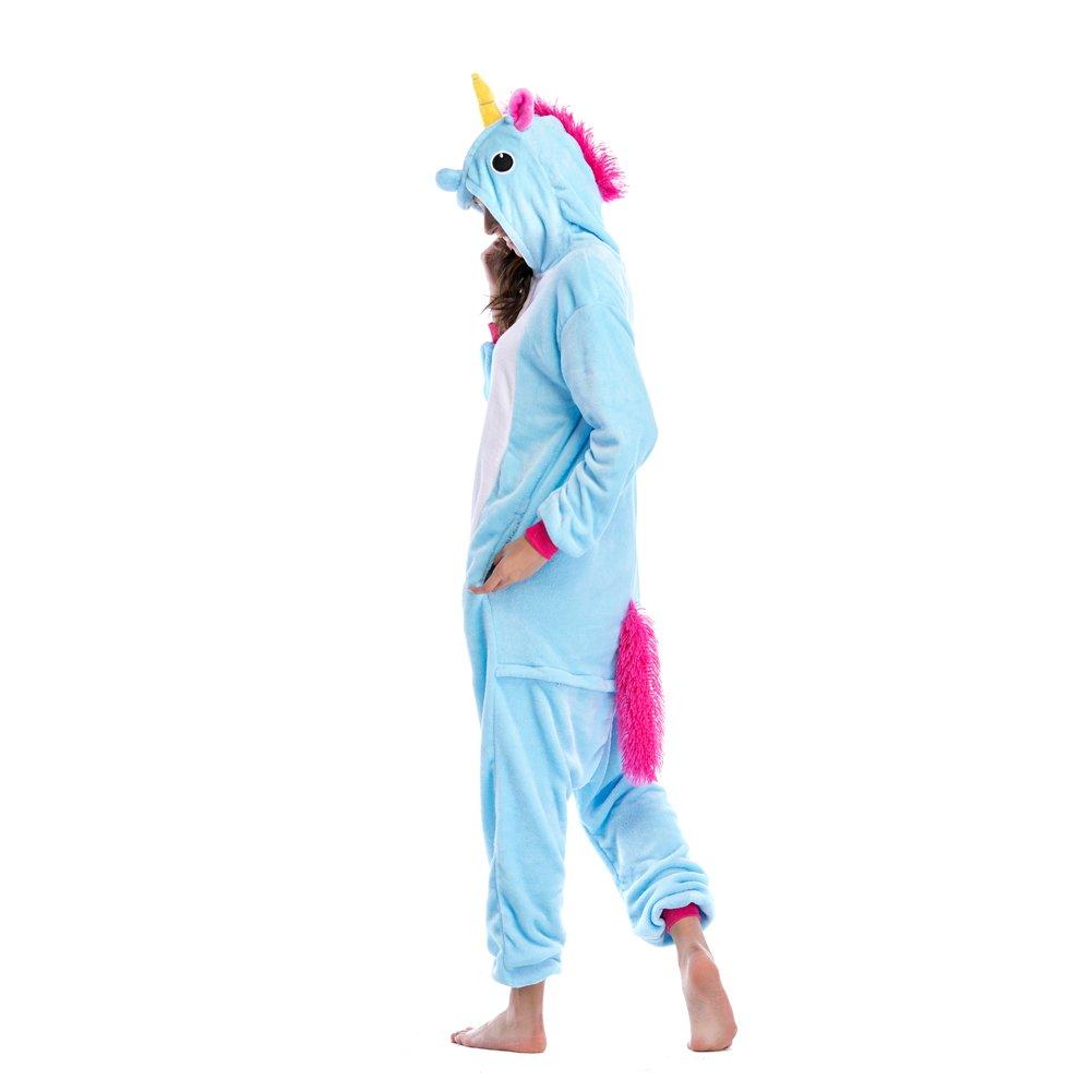 Niulun Adult Animal Pajamas, Unisex Unicorn Animal Costume Cosplay Loungewear Sleepwear Outfit For Men Women Teens-Blue (XL)