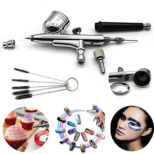 Xmasir Multi-Purpose 7CC Dual-Action Airbrush Gun With 0.3mm Nozzle Spray Gun for Makeup,Nail Art,Tattoo Painting,Art, Crafts,Cake Decor + 1 X Air Brush Cleaning Repair Tool (Best Psi For Airbrush)