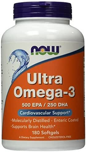 Ultra Omega-3 500 EPA/250 DHA, 180 Softgels, From NOW Foods (Pack of 2)