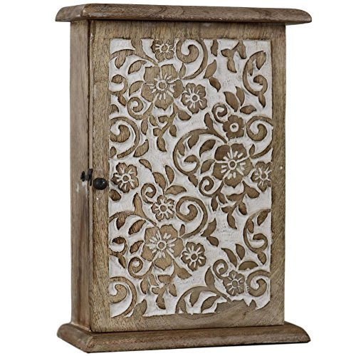 Floral Motif Key Box Holder Cabinet Wood Wooden Antique White KB-02 - Motif Wood Cabinet