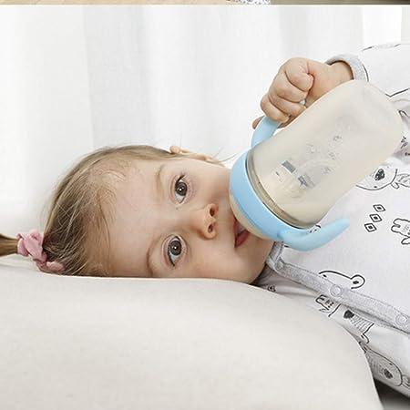 JSIHENA Bebés Botella Biberón Silicona Ancho Calibre con Asas con Tapa Closer to Nature biberón con Asas para destete de fácil Uso