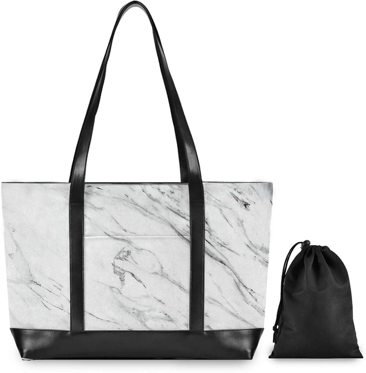 Laptop Tote Work Bag Women Marble White Business Handbag