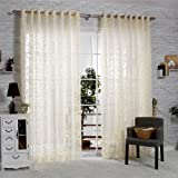 """R.LANG Solid Grommet Top Fashions sheer Jacquard Curtain 1 Pair Beige 52""""W X 84"""" L"""