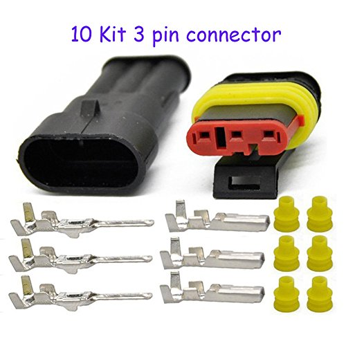 (HIFROM 10 Kit 3 Pin Way Waterproof Electrical Connector 1.5mm Series Terminals Heat Shrink Quick Locking Wire Harness Sockets 20-16 AWG)