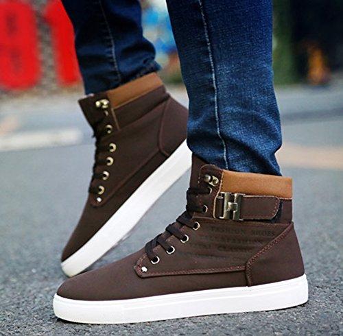 Homme Brun Casual 38 Daim Basket Scratch Montant Boucle 47 Taille Sneakers Wealsex Haute Confort xqBfpXww