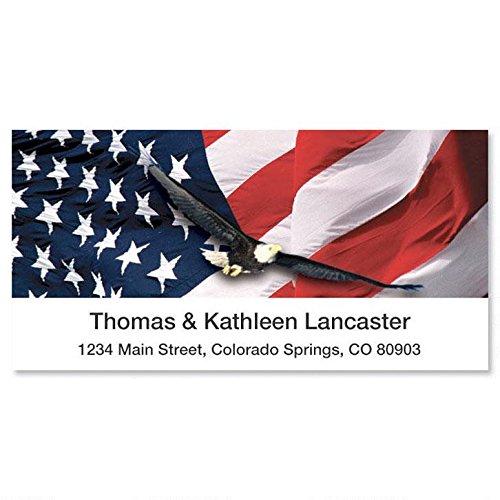 Freedom Patriotic Flag Address Labels, Set of 144, 1-1/8 x 2-1/4 Self-Adhesive, Flat-Sheet labels, Patriotic Labels, Flag Address labels, Red, White & Blue Labels