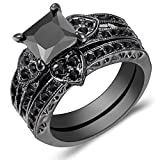 Carfeny 14K Black Gold Heart Shaped Black Square Diamond Princess Cut Wedding Engagement Bands Ring Sets