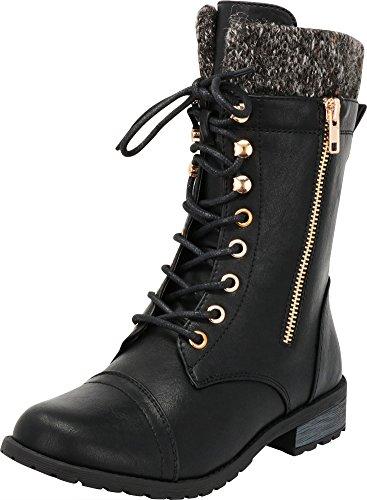 (Cambridge Select Women's Round Toe Military Lace Up Knit Sweater Combat Boots,8.5 B(M) US,Black Pu)
