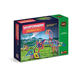 Magformers Dinosaur Set (55-pieces) Magnetic Building Blocks, Educational Magnetic Tiles Kit , Magnetic Construction STEM Toy Set