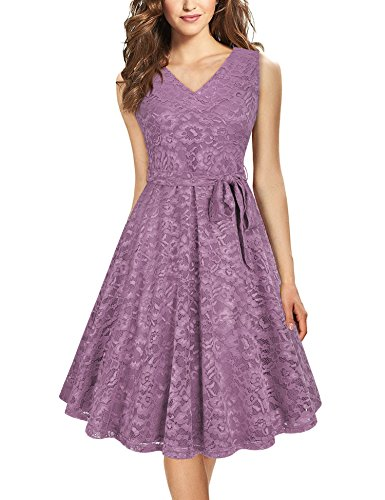 Furnex Lace Bridesmaid Dresses, Elegant Dresses for Wedding Party for Date Night V Neck Sleeveless Slim Fit A Line Lace Dress (X-Large Violet) (Dresses Womens Elegant)