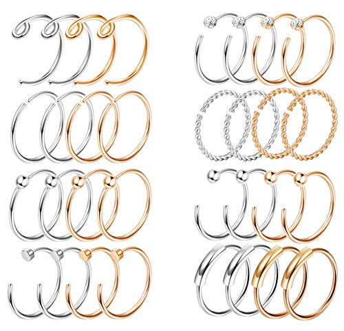 (FIBO STEEL 32Pcs 316L Stainless Steel Fake Hoop Nose Rings Septum Tragus Cartilage Helix Ring Lip Ring Set Body Piercing Jewelry 8MM)