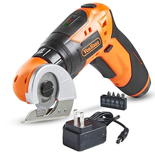 VonHaus 2 in 1 Electric Cardboard/Carpet Cutter with Screwdriver Attachment, Rechargeable Battery, LED Light with 3-Position Handle and 5 Screwdriver Bit - Cutter Carpet