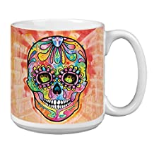 Tree-Free Greetings Extra Large 20-Ounce Ceramic Coffee Mug, Spectral Sugar Skull Themed Dean Russo Art (XM63214)