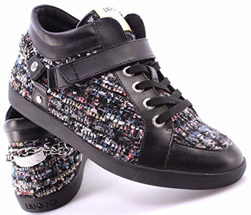 LIU JO Women's Sneakers Shoes Mid Cyril Black Nere New 9VGhrvFjgR