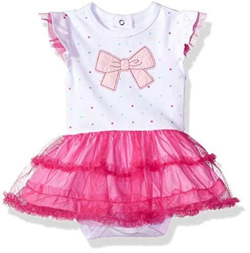 Rene Rofe Bow - Rene Rofe Baby Baby Girls' 1 Pc Rear Snap Bodysuit with Tulle Skirt, Pink Bow, 3-6 Months
