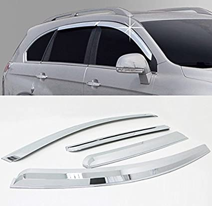 Amazon.com  AUTOCLOVER A453 Chrome Window Sun Visor Vent Guard Wind Rain  4-pc Set For 13 14 Chevy Captiva  Automotive 9390f32988b