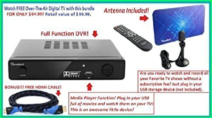 Mediasonic HW150PVR HomeWorx HDTV Digital Converter Box with HDMI, Recording Function and USB playback + Digital Antenna + Premium HDMI Cable
