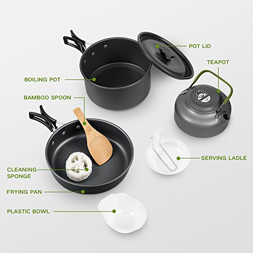 Terra Hiker Camping Cookware, Nonstick, Lightweight Pots, Pans with Mesh Set Bag for Backpacking,...