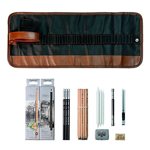 Haplain Sketching Pencil Set Pens Charcoal Sketch Set with Roll Up Canvas Carry Pouch Pencils Eraser Craft Knife Pencil Extender 29pcs Set for Beginners Artist Student by Haplain