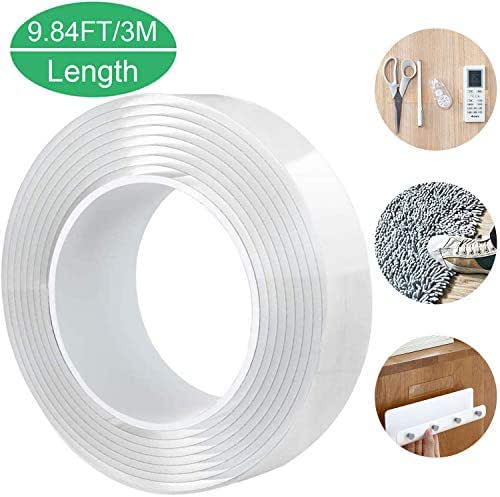 Nano Double Sided Tape Reusable 9.84 Ft, Multifunction Removable Washable Traceless Gel Grip Tape, Clear Sticky Adhesive Non-Slip Mounting Tape Heavy Duty for Home/Office Fix Carpet Mats