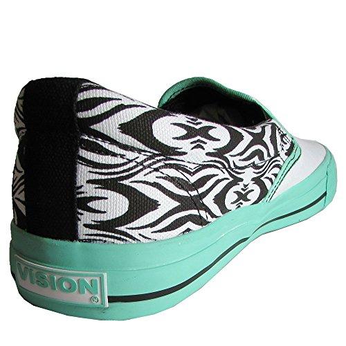 new product 39968 4c9fc ... Vision Street Wear Femme Aztec Slip On Skate Chaussure Blanc   Menthe  Verte