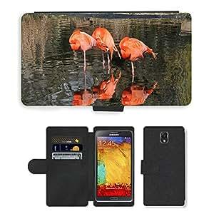 PU LEATHER case coque housse smartphone Flip bag Cover protection // M00111334 Flamingo Aves Animal Naranja // Samsung Galaxy Note 3 III N9000 N9002 N9005