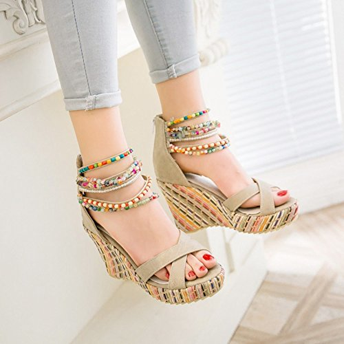Shoes Multicolored Sandals Zipper Back Beaded Beige Strap Mid Women Ankle Alnice Wedges Platform Summer Heel Bohemian HPEqPwA