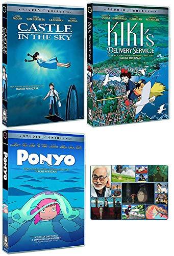 Hayao Miyazaki - Castle in the Sky / Kiki's Delivery Service / Ponyo - 3 DVD Studio Ghibli Classic Animated Movies Bundle + Bonus Art Card
